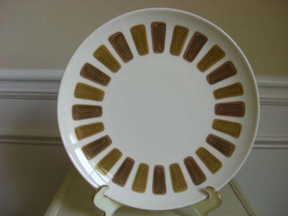 """Mid Century Modern Large Round Platter ~ Tan Brown Black ~ 12"""" USA"""