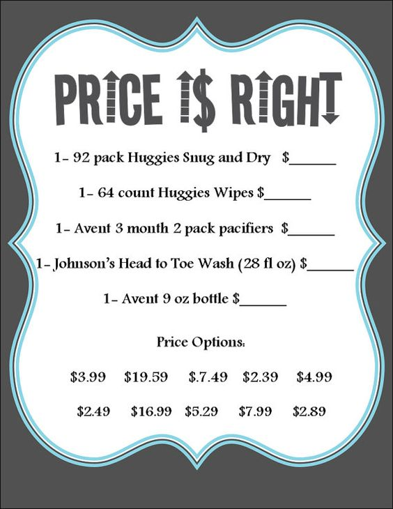 Baby Shower Game Price is Right colors can be by CMLDesigns89, $25.00