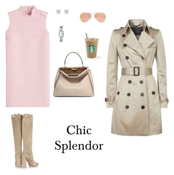 """Chic splendor"" by chic-splendor on Polyvore featuring RED Valentino, Gianvito Rossi, Fendi, Burberry, Betteridge, Chanel and Rayban"