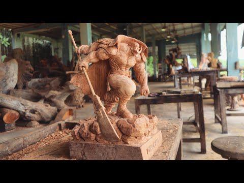 wood carving one piece whitebeard ワンピース youtube barba blanca one piece estatuas piece
