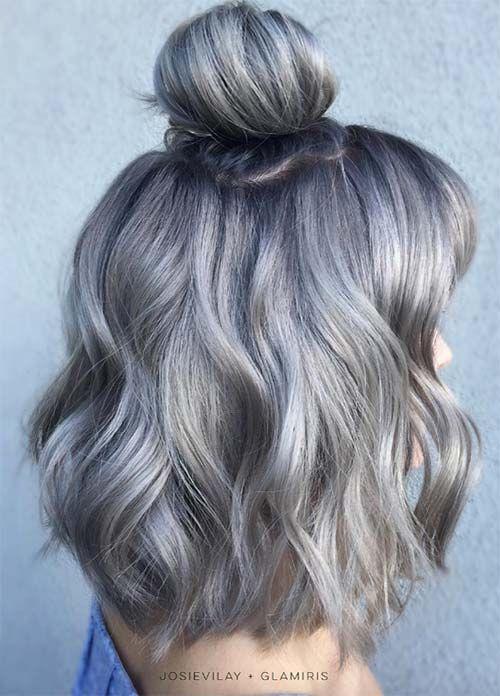 16 Dark Grey Hair With Subtle Blue Highlights