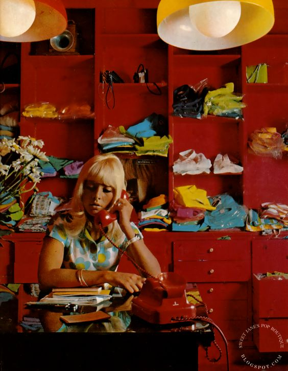 Sylvie Vartan at work in her Paris boutique, image scanned by Sweet Jane from Mademoiselle Age Tendre, Aout No.34 1967.: