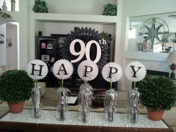 90th birthday parties cake table decorations and 90th for 90th birthday decoration ideas