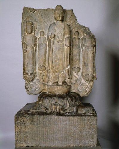 Isabella Stewart Gardner Museum : Votive Stele  Chinese (Eastern Wei dynasty)  Limestone, 142.2 x 81.9 x 62.9 cm Genre: Asian Art, Sculpture Location: Chinese Loggia Accession Number: S8w4