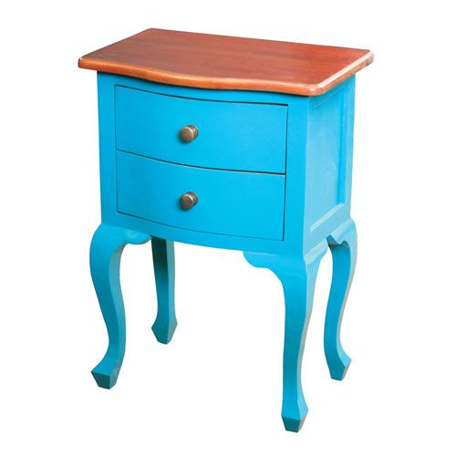 Light Brown and Blue 28-Inch End Table
