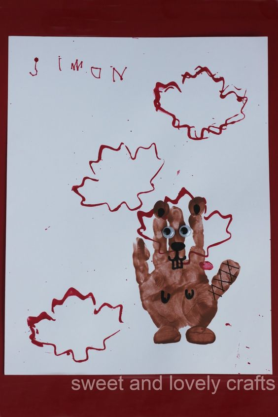 sweet and lovely crafts: handprint beavers for Canada Day