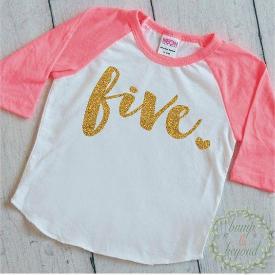 5 Year Old Birthday Shirt Girl Five Year by BumpAndBeyondDesigns