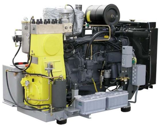 The high pressure pump units are built to be reliable and user friendly. The diesel engine, from a manufacturer with a world wide service network, is directly connected to highly flexible coupling. This assembly is mountings as are all ancillary components such as boost pump, batteries and header tank.  The units are available in the following variants:      Basic unit: stationary without sound damping cover.