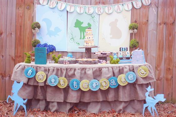 Bambi Dessert Table...my fabric banner for Twitterpated shoot with Capes and Crowns.