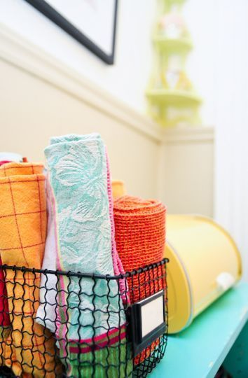 wire basket and tea towels