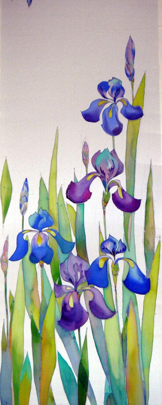 Iris ch le charpe foulard de soie peint la main la for Technique de peinture sur soie en video