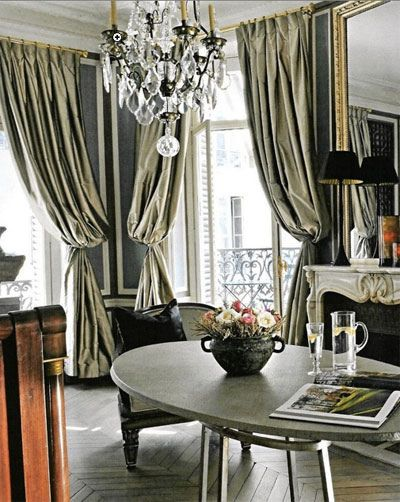 this is glamorous}, via Flickr Grey Curtains, black, gold, white ...