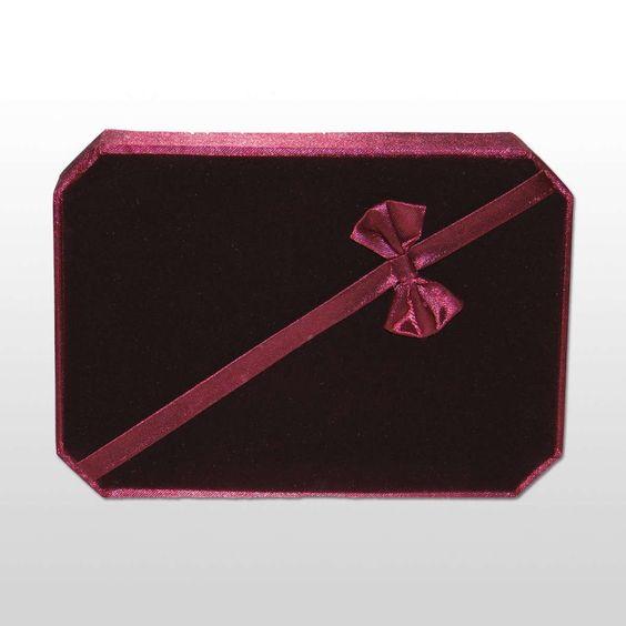 Bandejas y cajas de bisuteria varias  42010 CAJA PARA BISUTERÍA ROJA (LAZO Y TERCIOPELO