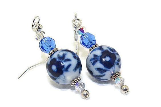 Delft Blue Earrings Lampwork Earrings Glass by ZiyanaJewelry