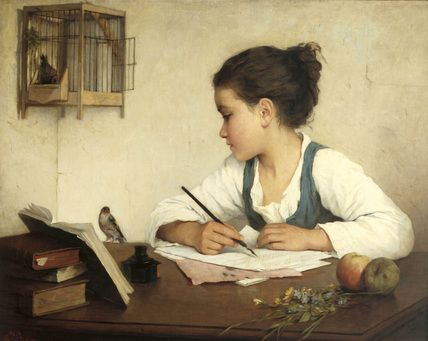 "A Girl Writing,"" Henriette Browne (1829-1901)"
