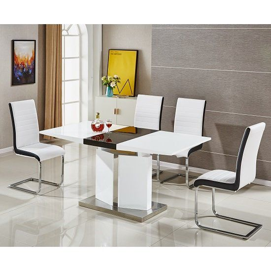 Belmonte Extendable Dining Table Small In White And Black Gloss In