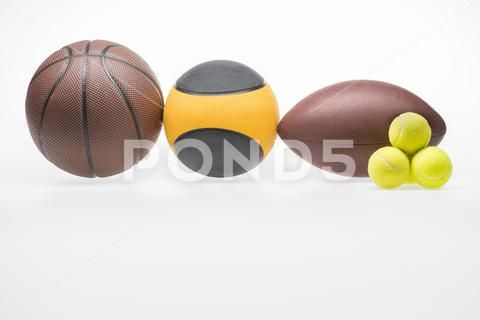 Photograph Closeup Shot Of Various Sport Balls Rugby Basketball Medicine And Tennis 81823697 Sports Balls Basketball Rugby Sport