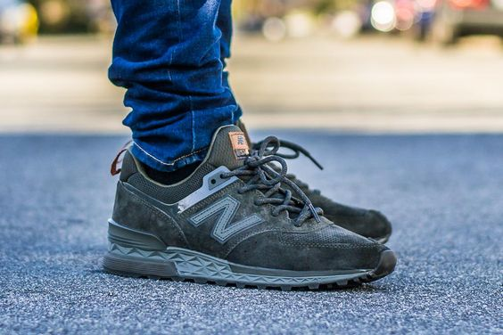 New Balance 574 Sport Suede Olive On Feet Sneaker Review | New ...