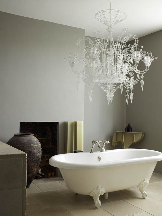 Modern Country Style: Designer Abigail Ahern's Bathroom: Dulux Dusted Moss 1- wall colour LOVE!