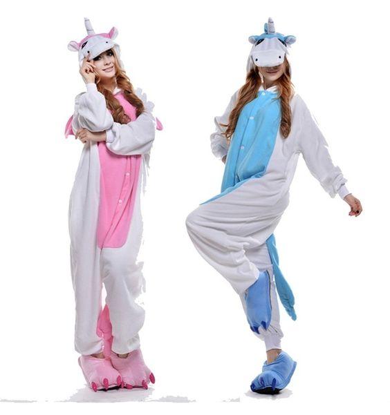 Hot Unisex Adult Flannel Pajamas Cosplay Cute Cartoon Animal ...