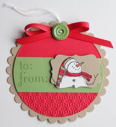 Circular snowman tag