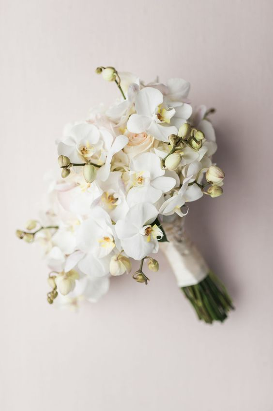 Modern All-White Orchid Bouquet