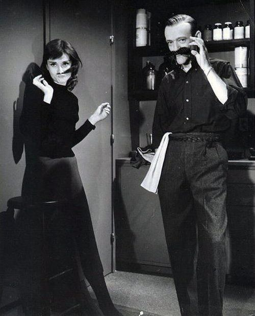 Audrey Hepburn and Fred Astaire on the set of Funny Face (1957)