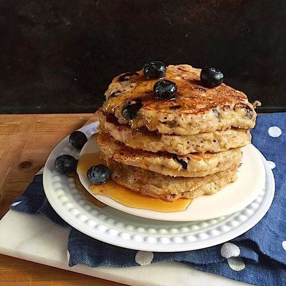 Whole grain blueberry banana pancakes. A healthier breakfast pancake ...