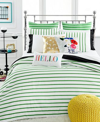 kate spade new york Harbour Stripe Picnic Green Comforter and Duvet Cover Sets - Duvet Covers - Bed & Bath - Macy's