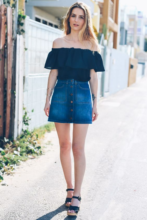 Denim Skirt And Top
