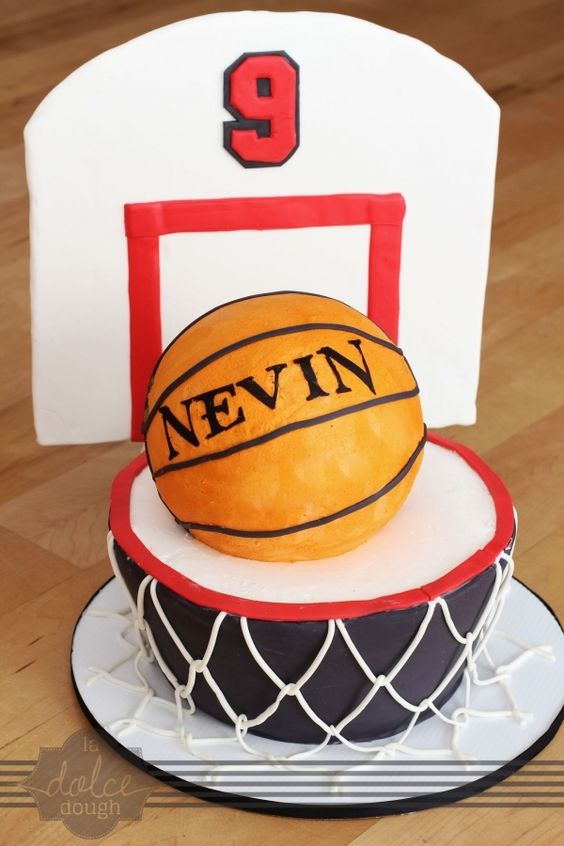 how to make a basketball cake with hoop