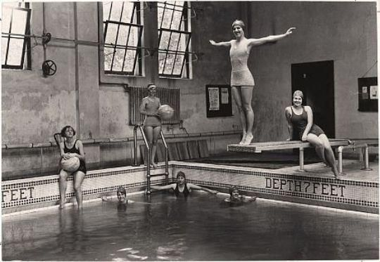 Edwin Wisherd,  Swimming Class, Sophie Newcomb College, New Orleans, 1929 Vintage gelatin silver, printed 1929