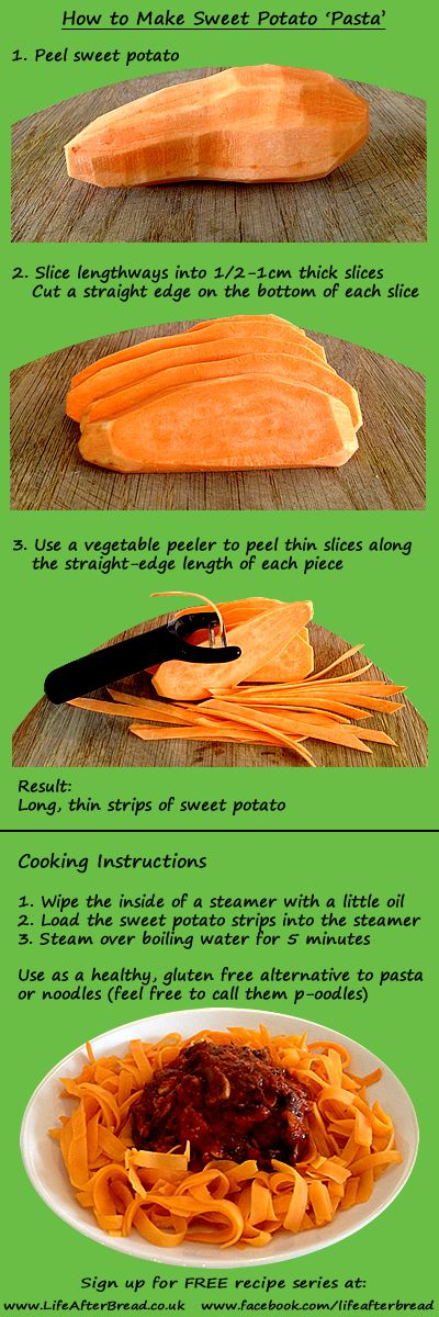 ◄► How to make sweet potato pasta Really easy, healthy, gluten free alternative to pasta or noodles. No fancy equipment required! Wheat Belly Diet ♥ Grain Brain Diet #carbswitch carbswitch.com Please Repin ◄►Source: http://lifeafterbread.co.uk/sweet-potato-pasta/