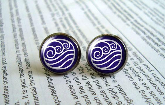 Avatar Water Tribe Stud Earrings , Last Airbender Elements Symbol ,Geekery,stud earring post earring, girlfriend gift Bridesmaid Gift