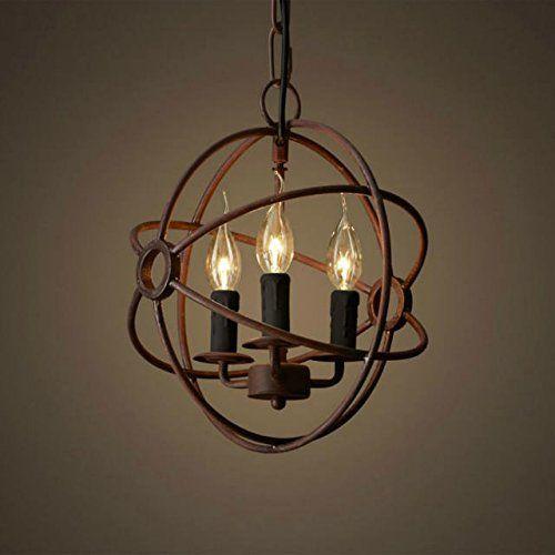 Round Hanging Light: Perfectshow 3-Lights Vintage Edison Metal Shade Round Hanging Ceiling  Chandelier Retro Iron Rustic Spherical,Lighting