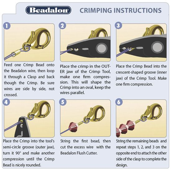 crimp beads beads tutorial and beads on pinterest. Black Bedroom Furniture Sets. Home Design Ideas
