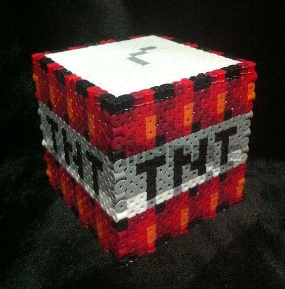 3d tnt minecraft box 3 x 3 size perler beads. Black Bedroom Furniture Sets. Home Design Ideas