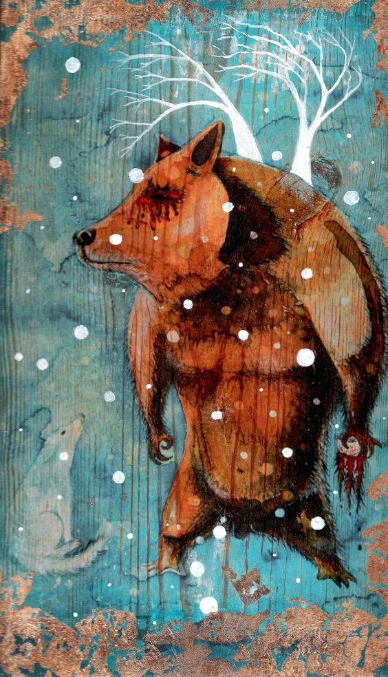 Osotoro enseña el camino nevado - Mixmedia on wood by Mono Cieza
