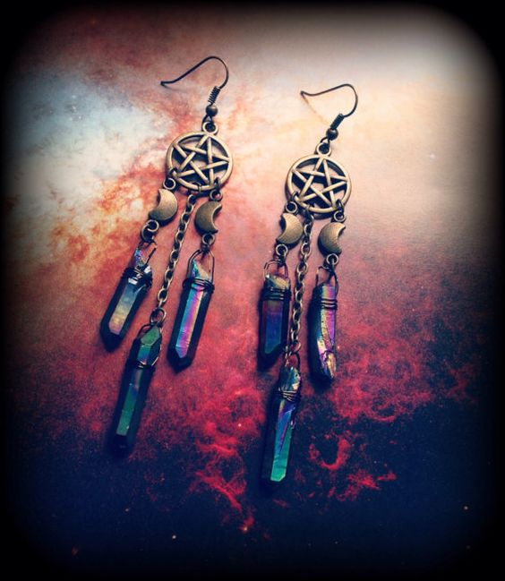 Pentacle Earrings With Crescent Moon and Titanium Quartz Crystal