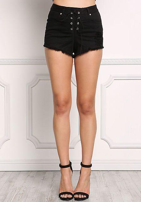 Black Lace Up Distressed & Frayed Denim Shorts