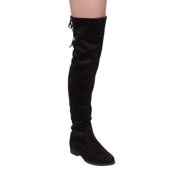 Liliana GD97 Women's Drawstring-tie Thigh-high Flat-heel Stretchy Boots