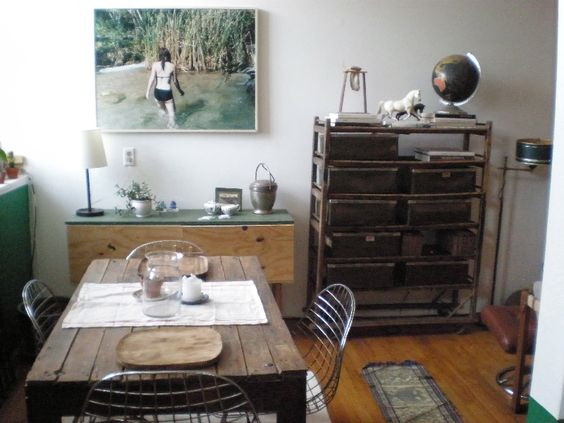 lived in. slated table. love the photo on the wall. williamsburg loft