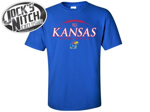 Kansas Jayhawks Footballer Laces Tee - Royal