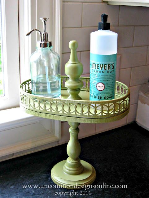d.i.y. tiered tray Old perfume tray and candlestick holder spray painted