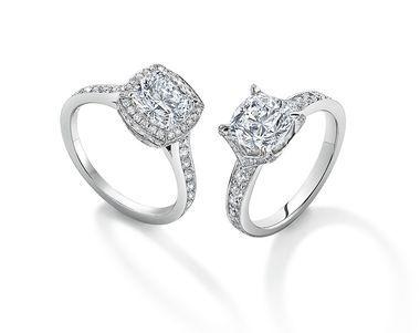 Asprey ~ Cut diamond engagement rings with a micro-set diamond surround and pavé diamond V setting