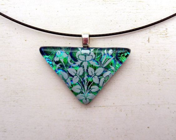 Wild Flowers Fused Glass Pendant Necklace by fusedelegance on Etsy
