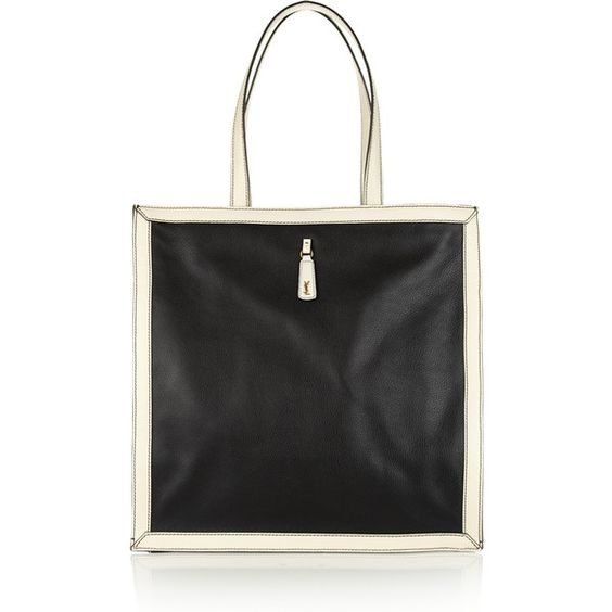 small black bag with chain strap - Yves Saint Laurent Walky two-tone textured-leather tote found on ...