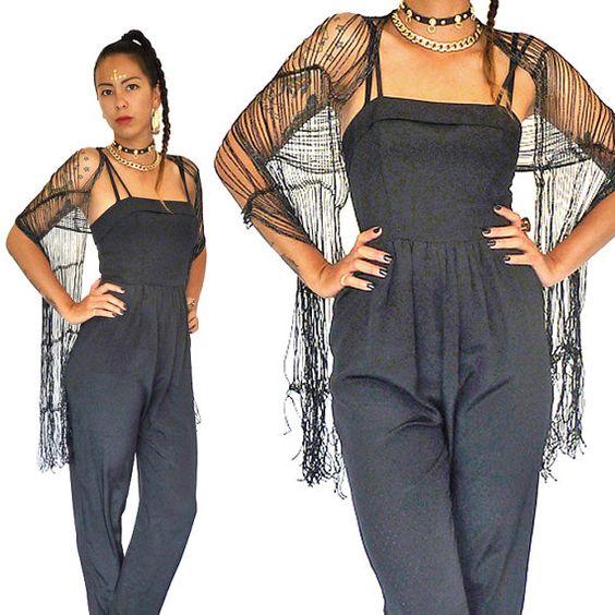 Black dress jumpsuit 1980s