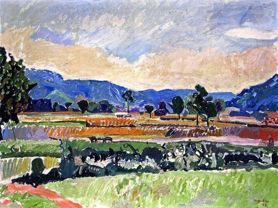 Max Gubler (Swiss 1898-1973) Field in Weiningen oil on canvas