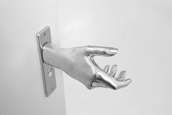 Shake hand door knob. Creepy but kinda cool. By designer Naomi Thellier De Poncheville.